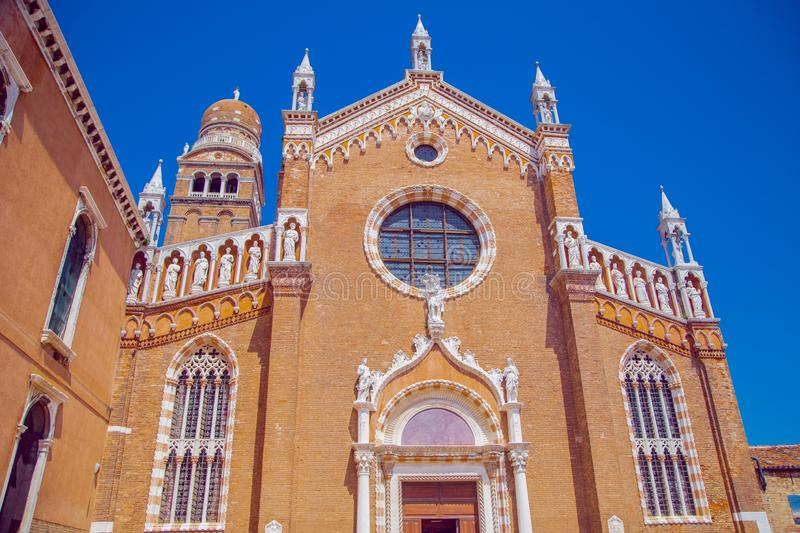 Church of the Madonna Dell& x27;orto in Venice,. On the background of blue sky stock photo