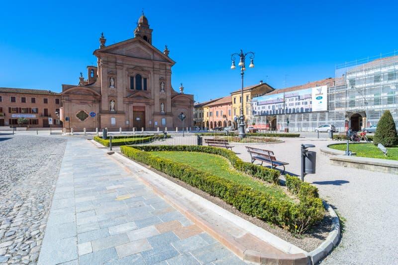 Church and main square in Novellara, Italy royalty free stock photography