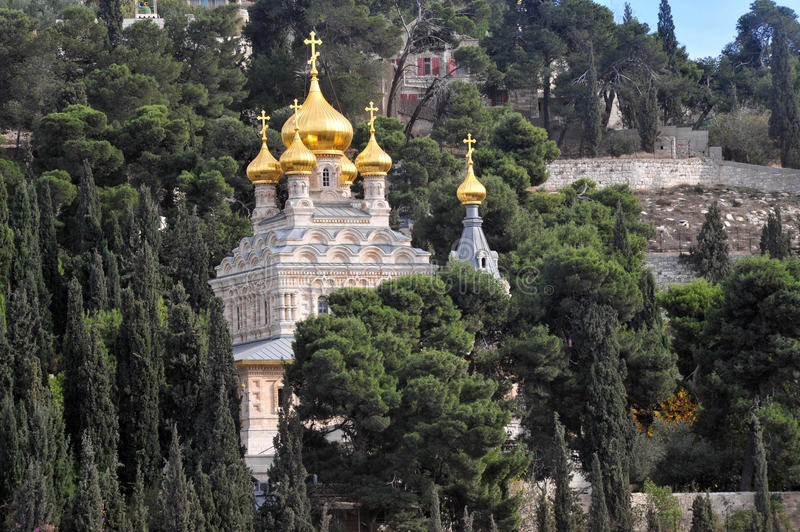 Church of Mary Magdalene in Mount of Olives in Jerusalem, Israel. JERUSALEM - DEC 12 2008: St. Mary Magdalene Church in Mount of Olives in Jerusalem, Israel.It royalty free stock photography