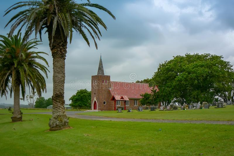 Church of Matakohe, home of the world famous Kauri Museum, New Zealand. Panoramic view of Matakohe, home of the world famous Kauri Museum, North Island, New royalty free stock image
