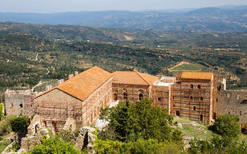 Church in medieval city of Mystras, Greece stock photo