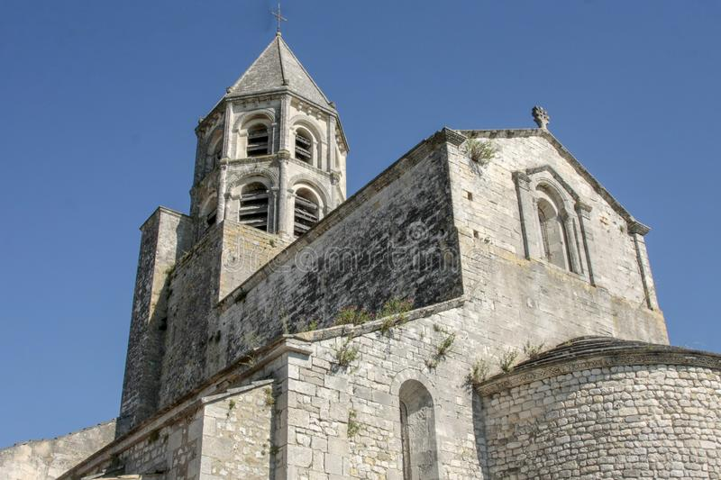 Church in medieval village of La garde Adhemar. In the south of France stock image