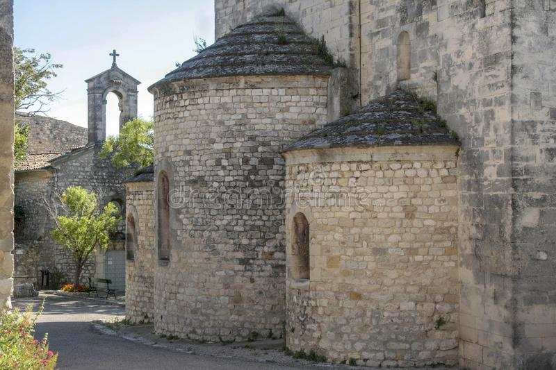Church in medieval village of La garde Adhemar. In the south of France stock photo