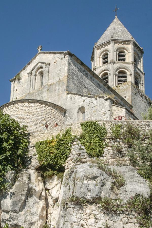 Church in medieval village of La garde Adhemar. In the south of France royalty free stock photography
