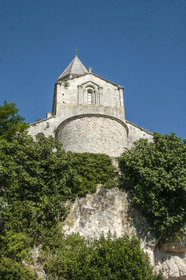 Church in medieval village of La garde Adhemar. In the south of France royalty free stock photo