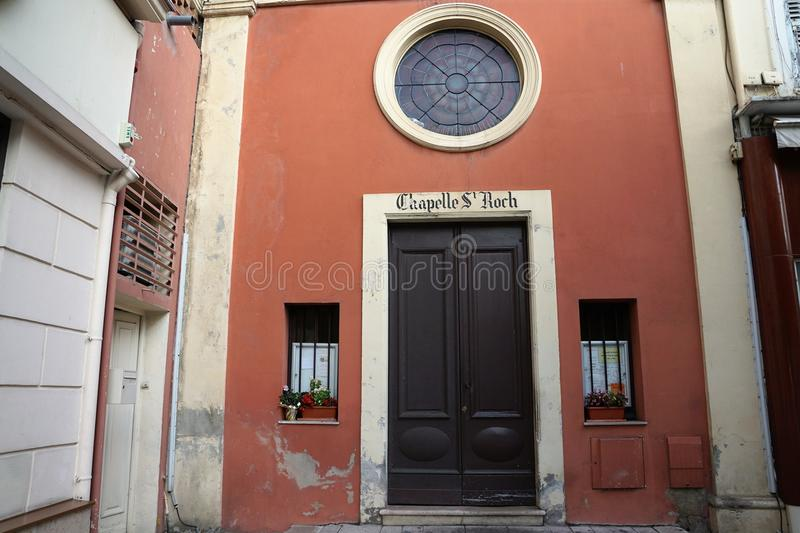 Church in Menton in France. Catholic church in Menton in South France in Europe La Chapelle St Roch stock photos