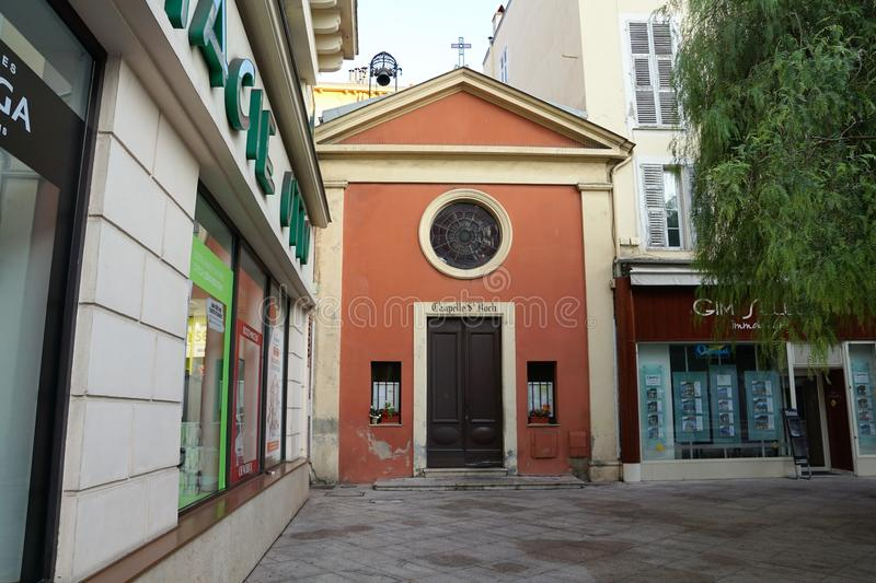 Church in Menton in France. Catholic church in Menton in South France in Europe La Chapelle St Roch stock photography