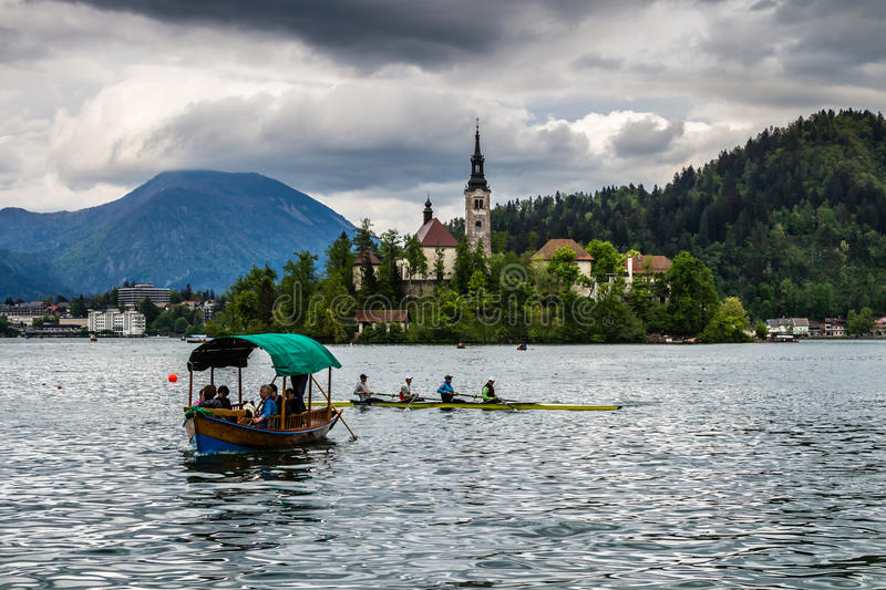Church in the middle of Bled lake, Slovenia stock images