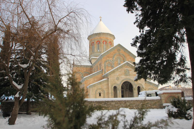 The church in Monastery of St. Nino at Bodbe in winter. The Monastery of St. Nino at Bodbe is a Georgian Orthodox monastic complex and the seat of the Bishops of royalty free stock photos