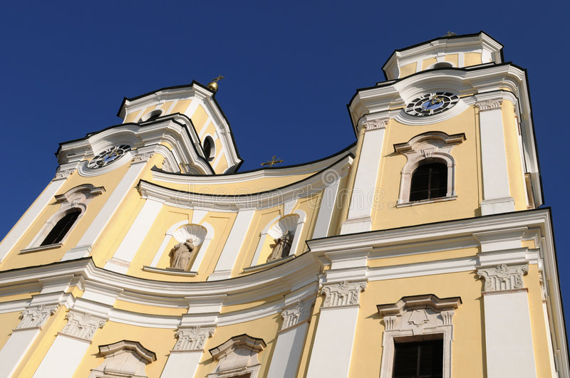 Church of Mondsee. The church of Mondsee has been built by Meinrad Guggenbichler (1649-1723) and is not a basilica minor royalty free stock images