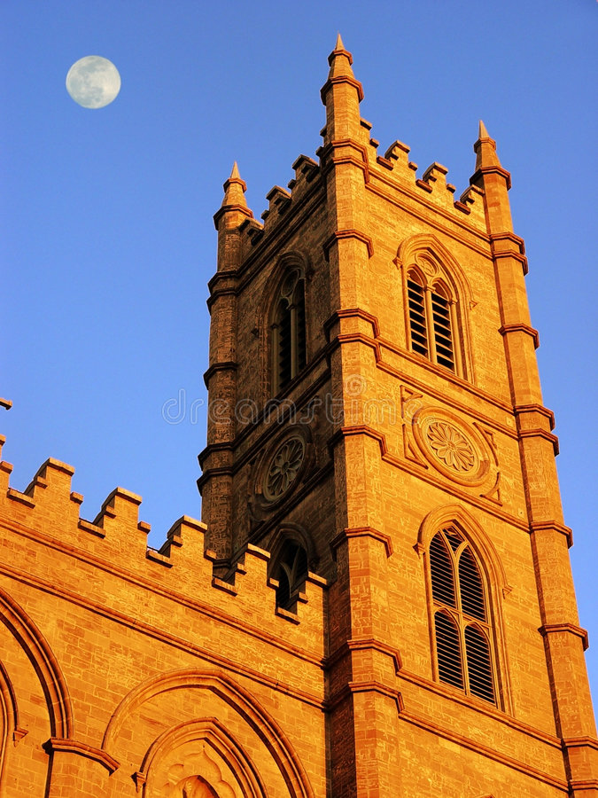 Church in Montreal at full moon royalty free stock images