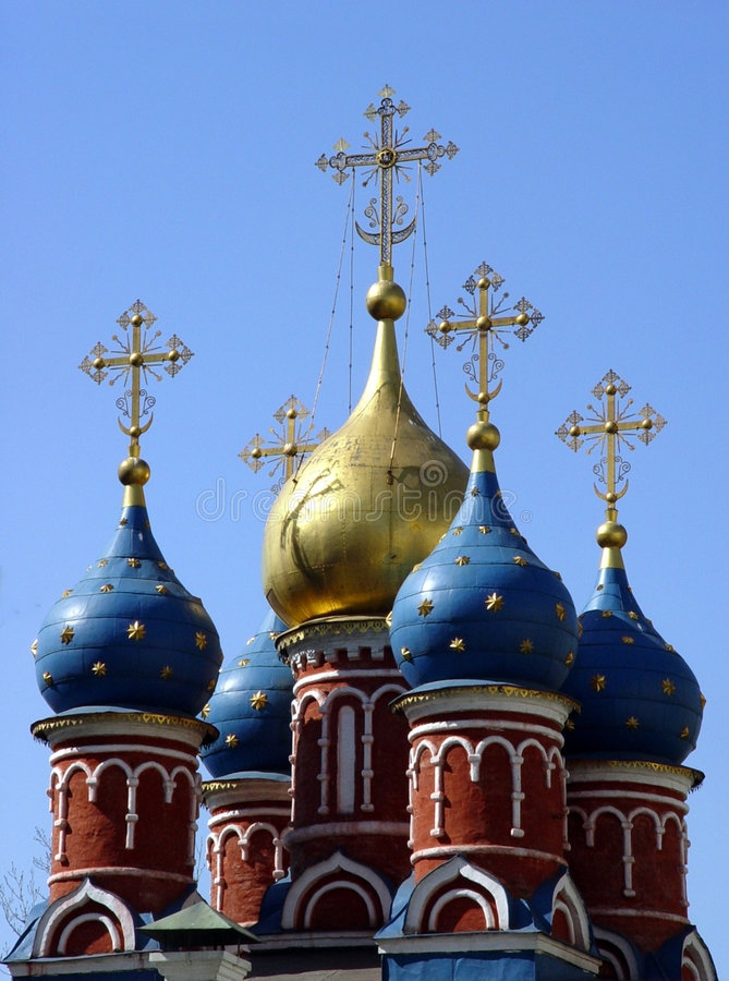 Download Church in Moscow stock photo. Image of european, blue, domes - 19856