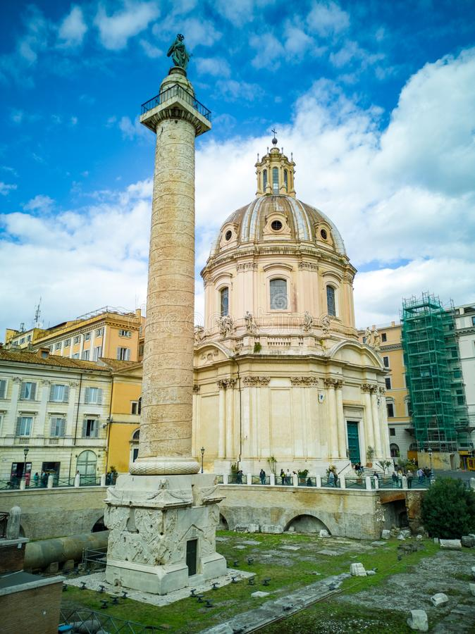 The Church of the Most Holy Name of Mary at the Trajan Forum and the Trajan`s Column royalty free stock images