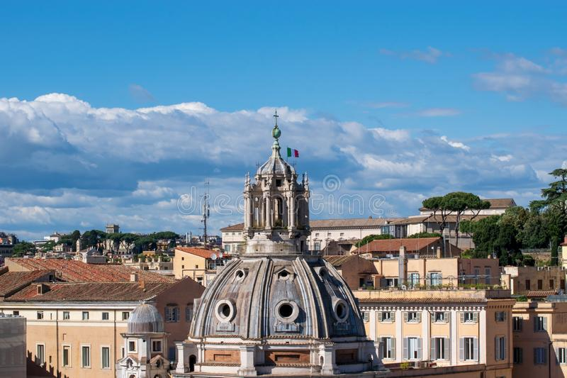 The Church of the Most Holy Name of Mary at the Trajan Forum or Santissimo Nome di Maria al Foro Traiano. Italy royalty free stock photos