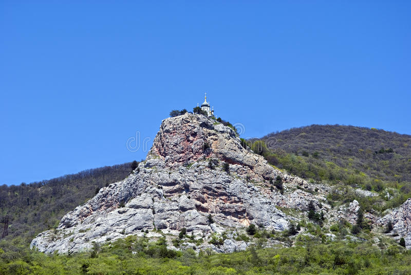 Church on mountain in Crimea stock images