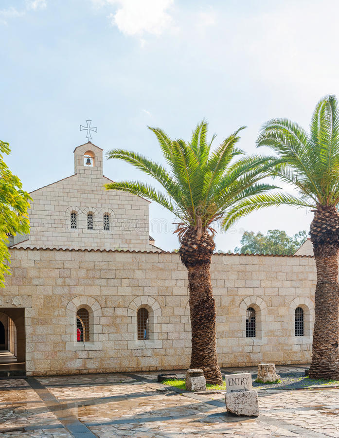 Church of the Multiplication. Front side of the Church of the Multiplication of the Loaves and Fish at Tabgha on the northwest shore of the Sea of Galilee in royalty free stock photo