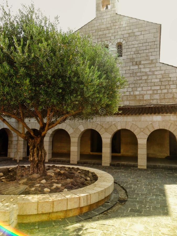 Church of the Multiplication,Tabgha, Galilee, Israel stock photography