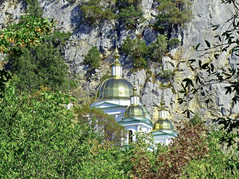 The Church in the name of the Holy Archangel Michael is located in a colorful and picturesque place of the Crimea royalty free stock image
