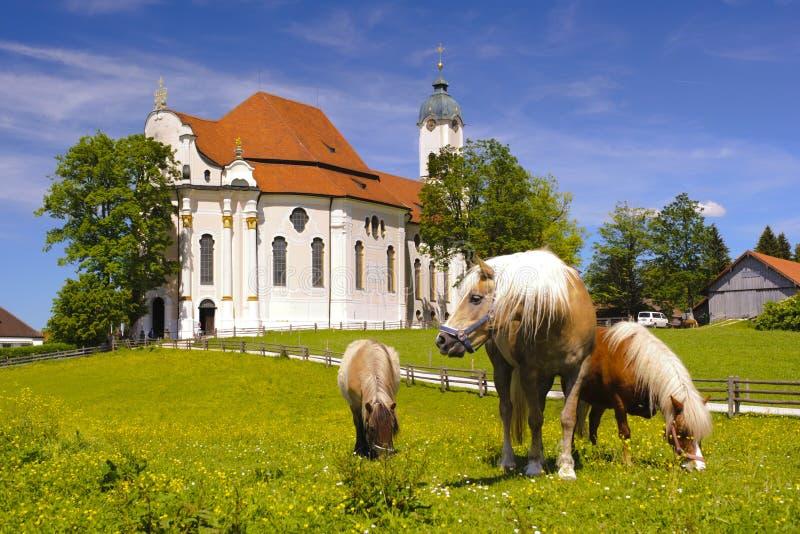 Church named Wieskirche in Bavaria. UNESCO world heritage church named Wieskirche in Bavaria nearby city Steingaden stock photos