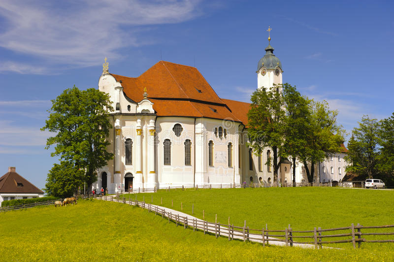 Church named Wieskirche in Bavaria. UNESCO world heritage church named Wieskirche in Bavaria nearby city Steingaden royalty free stock image