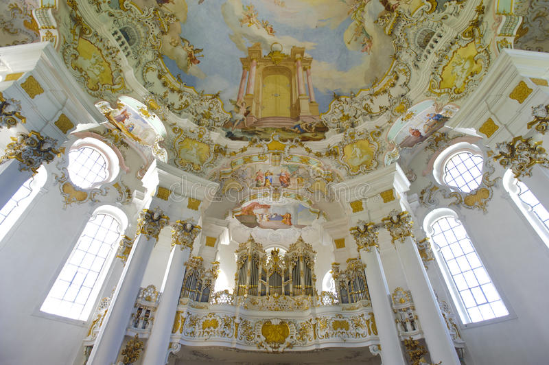 Church named Wieskirche in Bavaria. Is a world famous landmark and UNESCO heritage royalty free stock images