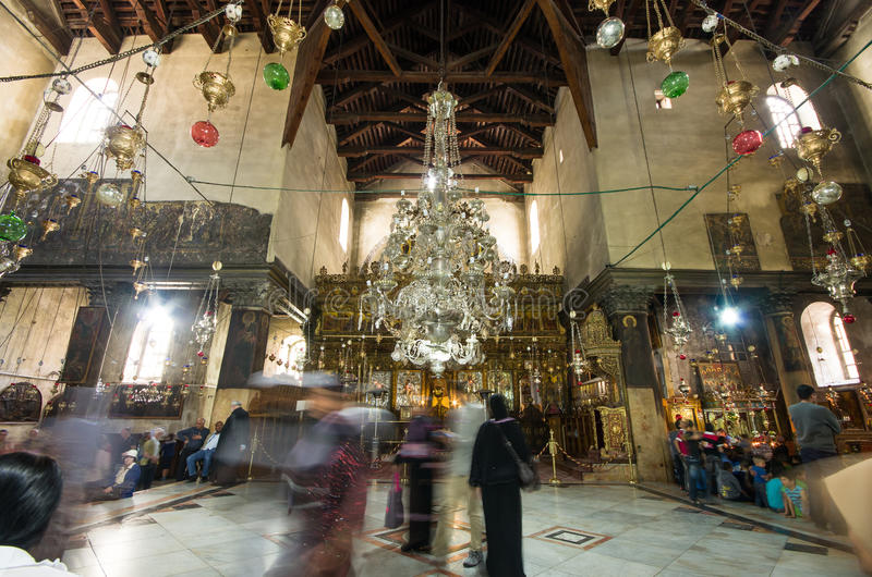 Church of the Nativity interior, Bethlehem, Israel stock image