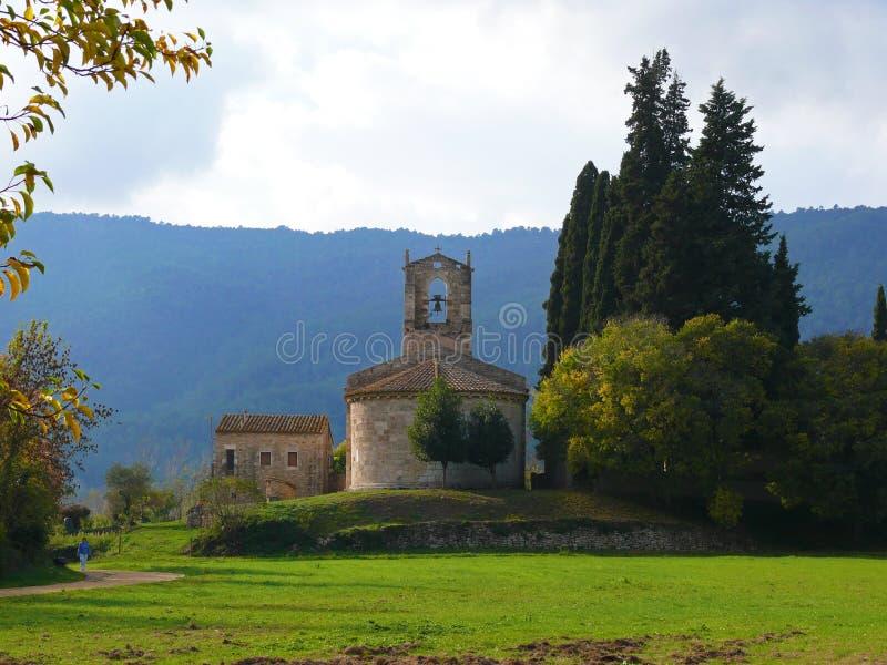 Church near Banyoles. Church and old house near Banyoles, Spain stock image