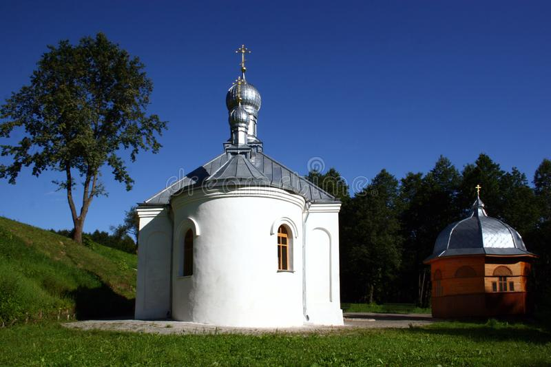 Church near the Sacred source in orthodox monastery of the Dormition of the Theotokos. In Pustynki near the city of Mstislavl, Belarus royalty free stock photo