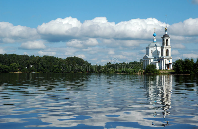 Church near the Volga River. A white church along the Volga River in Russia royalty free stock photo