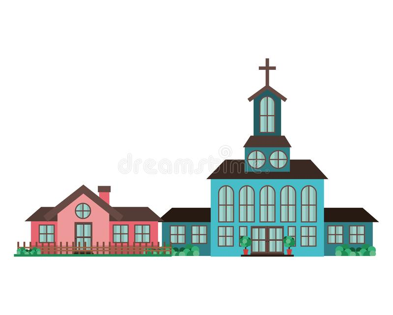 Church in neighborhood isolated icon royalty free illustration