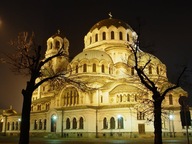 Church in the night stock image