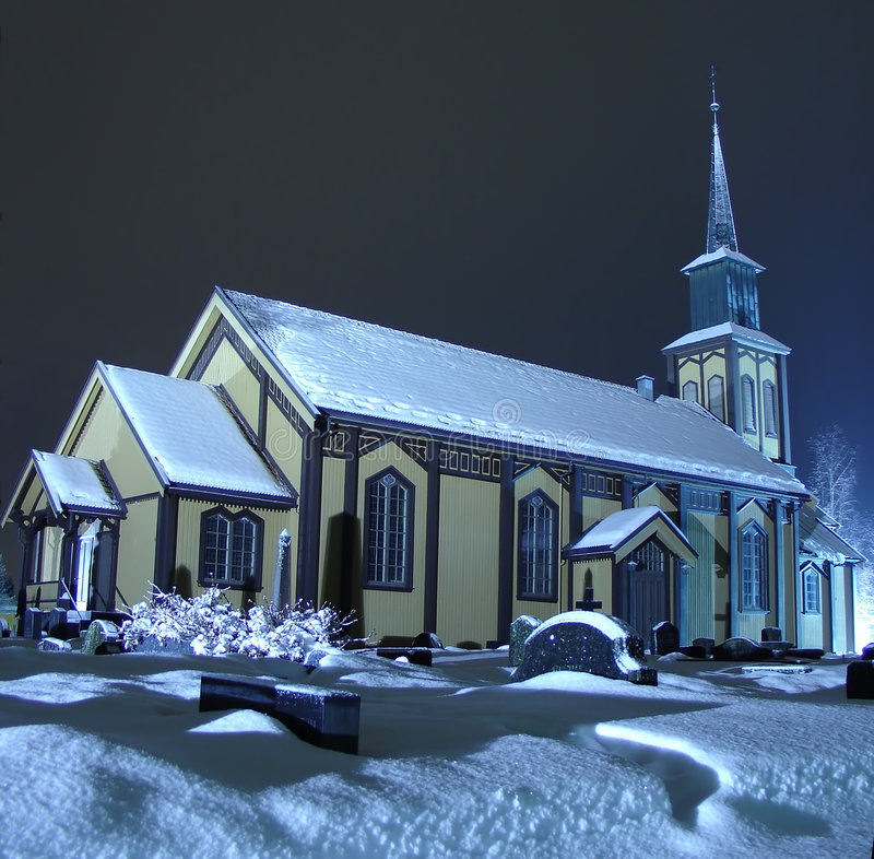 Church on night. Church in Honefoss, Norway on a winter night stock photo