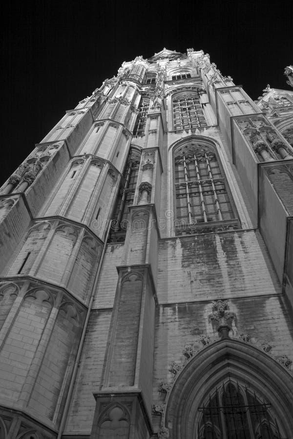 Church by night (b/w) stock photo