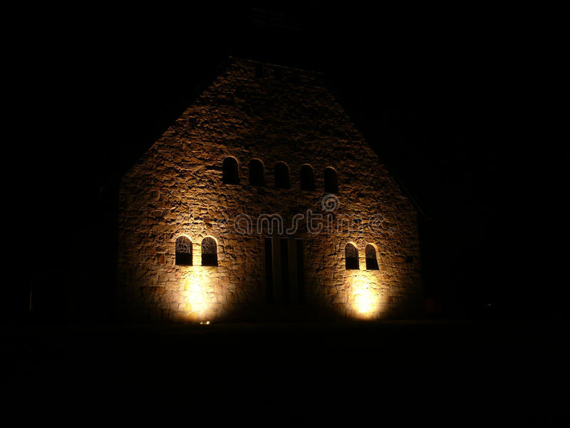 Church in the night stock image. Image of horn, mountain ...