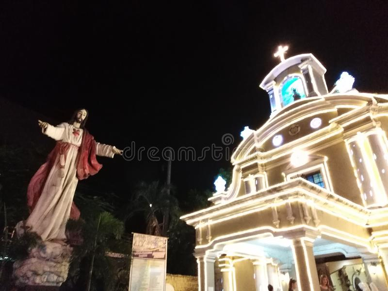 Church at Night 2. Church in Malabon, Philippines royalty free stock photo