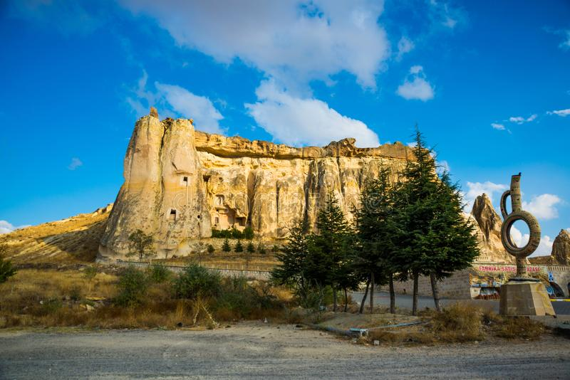 Church Nikifor Fokas, Nikeforos Fokas Kilisesi, also referred to as Pigeon, Guvercinlik, Cavusin Church. The ancient temple is. Located in the rock. Cappadocia royalty free stock photography