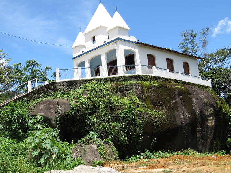 Church of Nossa Senhora da Penha - Paraty- Paraty- Cunha. It is a church situated on a Big stone royalty free stock images