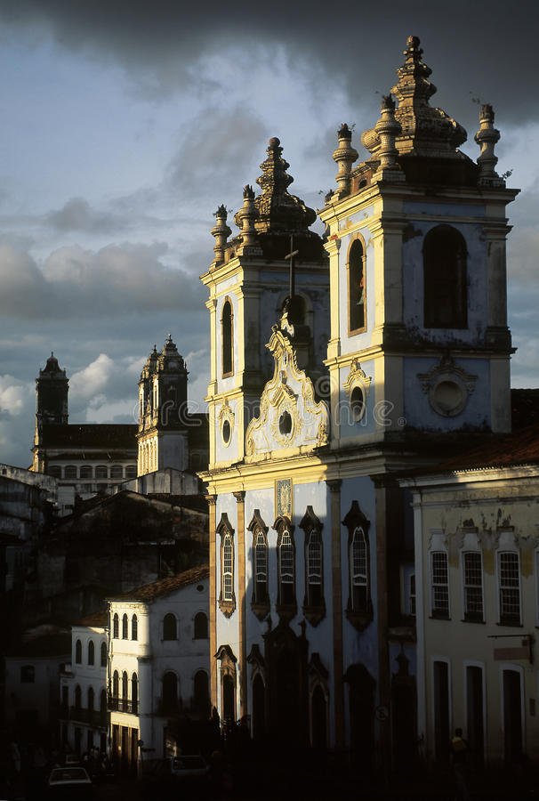 The church of Nossa Senhora dos Pretos in Salvador, Brazil. The church of Nossa Senhora dos Pretos (Our Lady of the Blacks), built by and for slaves in Largo do royalty free stock photo