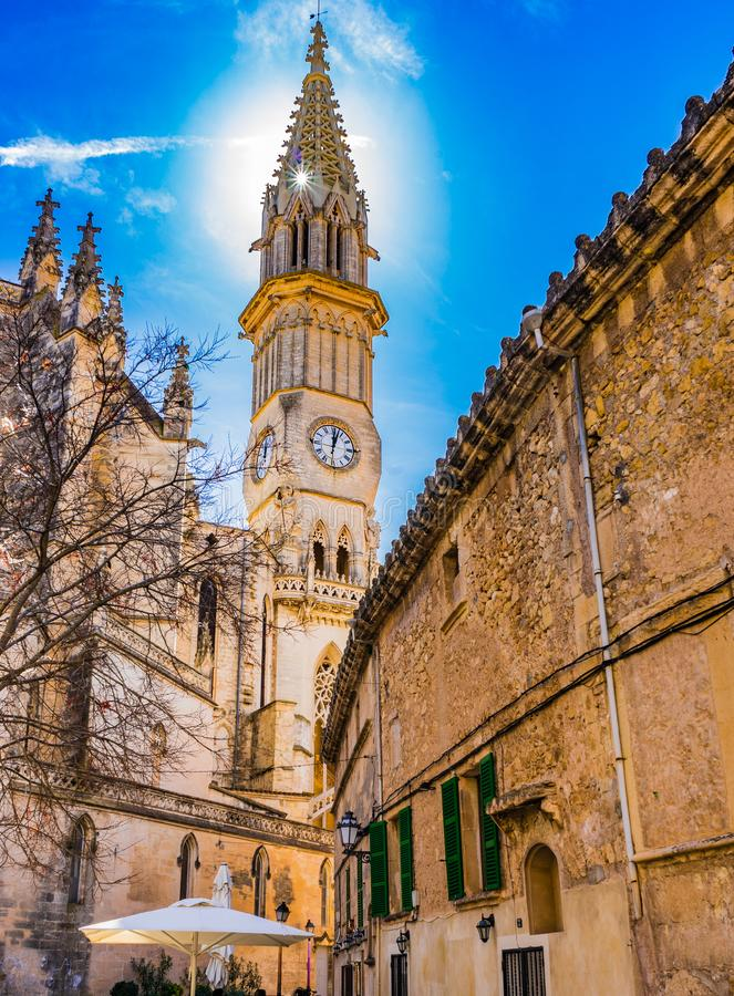 Beautiful spire of church in Manacor town on Majorca island, Spain. Church Nostra Senyora dels Dolors in Manacor on Mallorca island, Spain royalty free stock photo