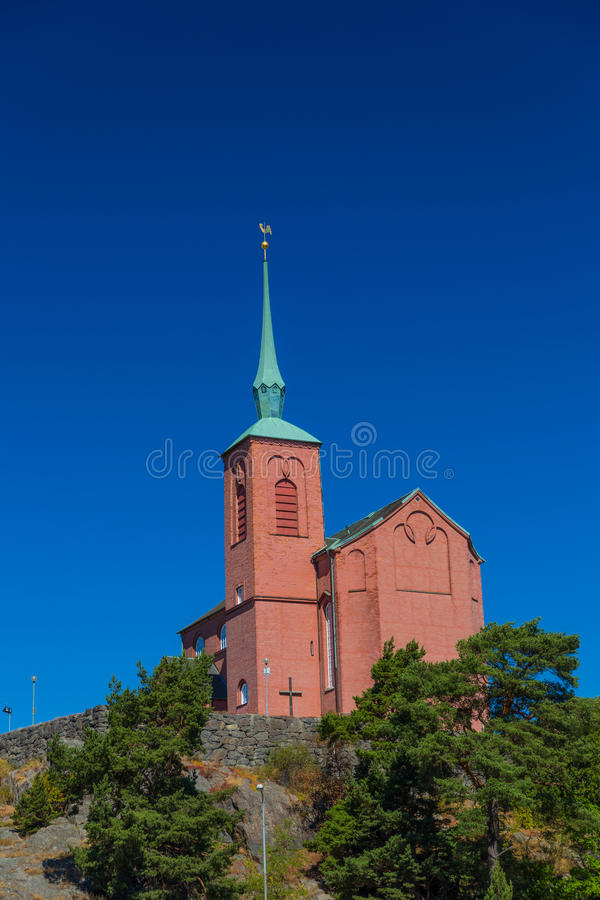 Church of Nynashamn, Stockholm, Sweden. 03.08.2016 Nynäshamn Sweden`s Nynäshamn. - A port city in Sweden, located in Stockholm county on the southern tip royalty free stock photos