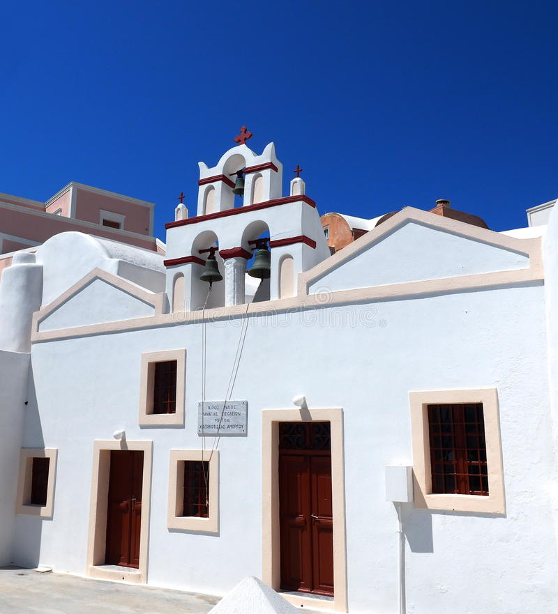 Church In Oia Santorini Greece. With blue sky royalty free stock image