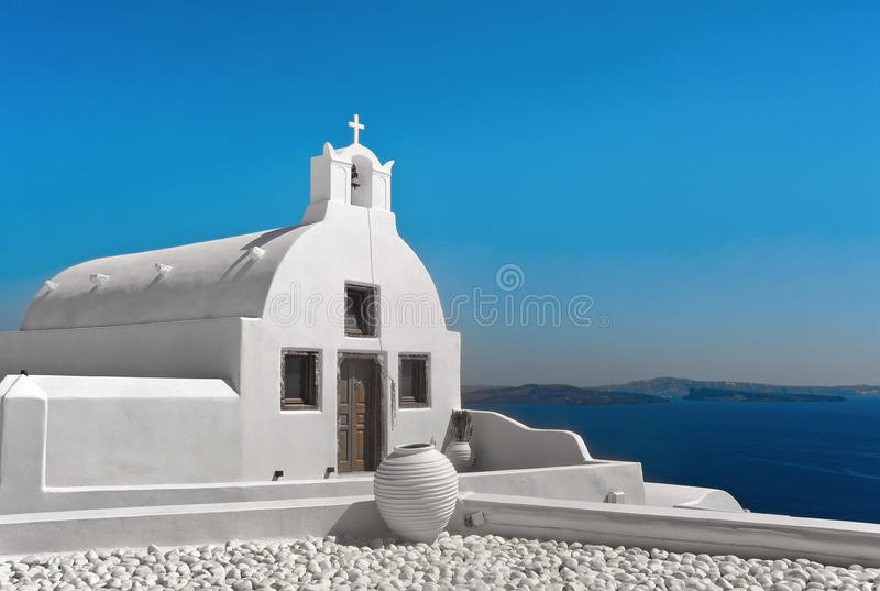 Church at Oia in Santorini, Greece royalty free stock photography