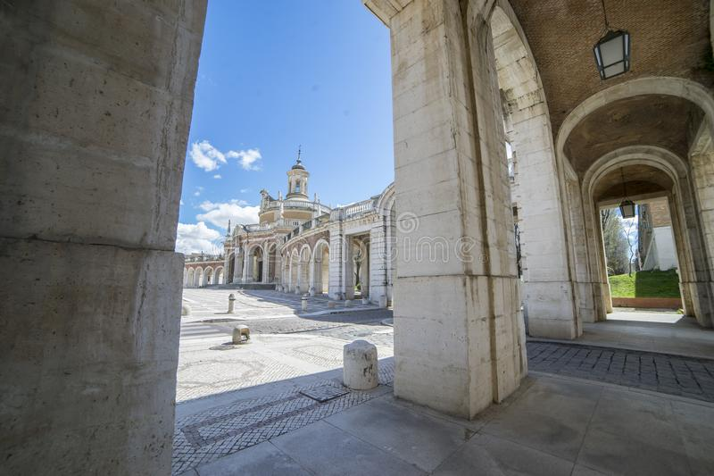 Church, Old arcs, architecture. A sight of the palace of Aranjuez (a museum nowadays), monument of the 18th century, royal reside stock photography