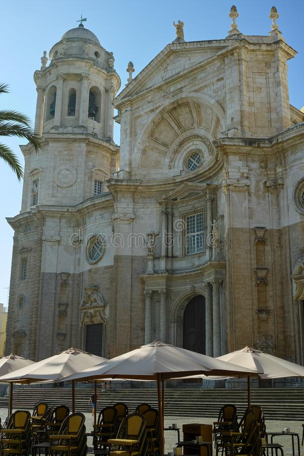 Church in old central part of  ancient town Cadiz, Andalusia, Spain. In summer stock images