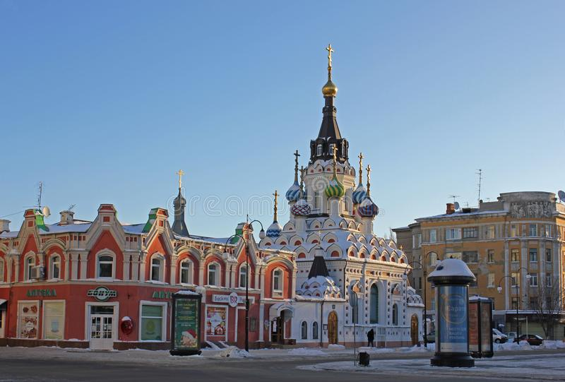 Church and old merchant houses. Saratov is the central square. Historical buildings of different styles royalty free stock image