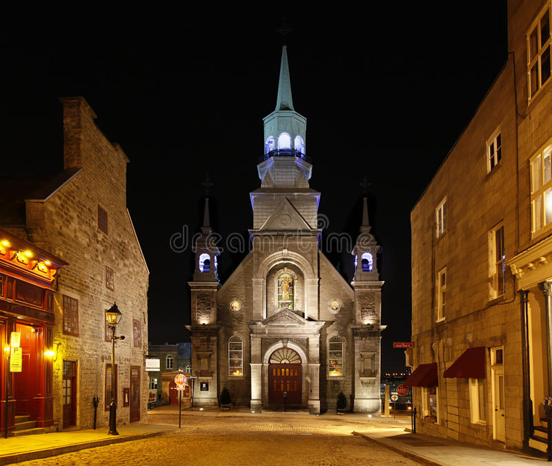 Church in old Montreal, Quebec, Canada. Nights Scene of Street with Church in old Montreal, Quebec, Canada stock images