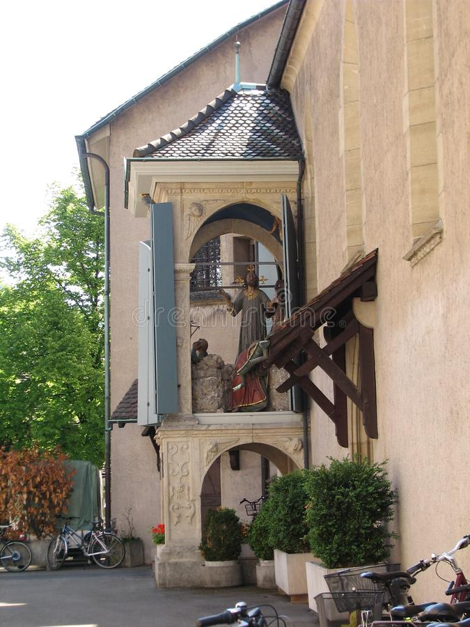 Church of the Assumption of Mary, side entrance, stock photo
