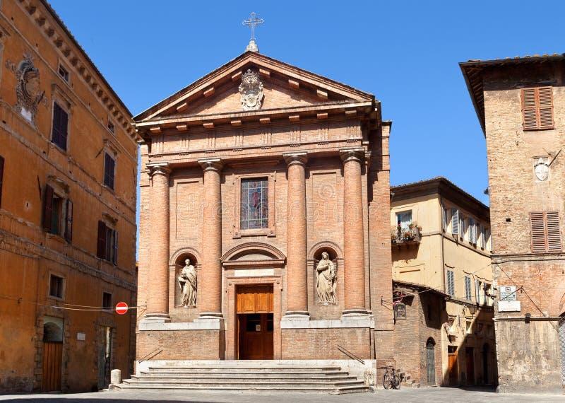 Ancient church Chiesa di San Cristoforo in Siena, Italy stock images