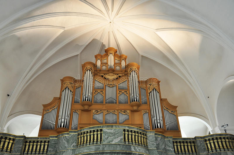 Church organ. The organ in Katarina church in Stockholm, Sweden. After a fire in 1990, that destroyed the church, the new organ was reconstructed, by J.L.van den royalty free stock photos
