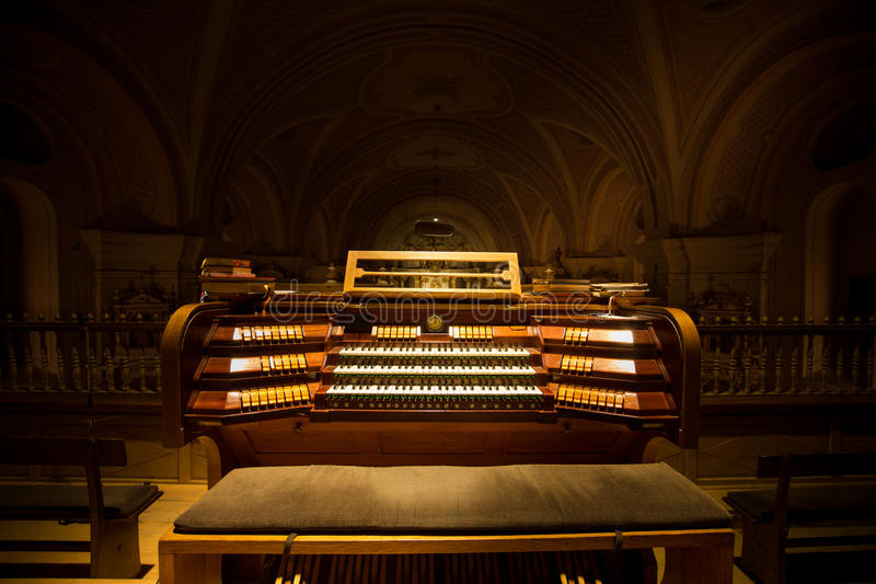 Church organ I. Church organ with three keyboards built in 1931 royalty free stock photos